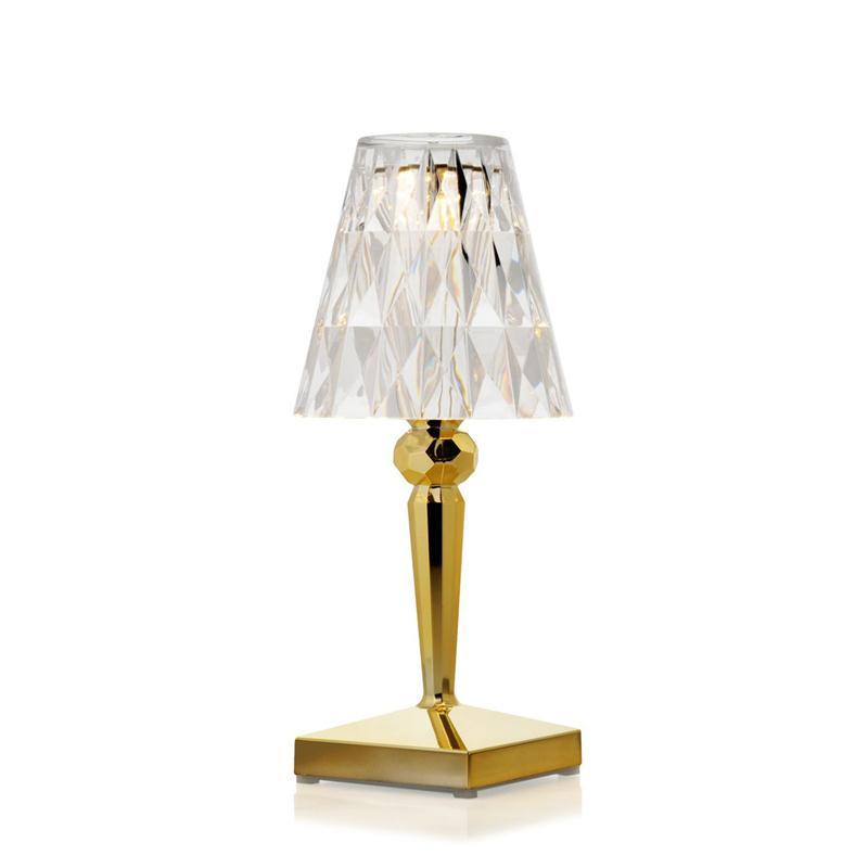 Lampada da tavolo in vetro artistico color cristallo con